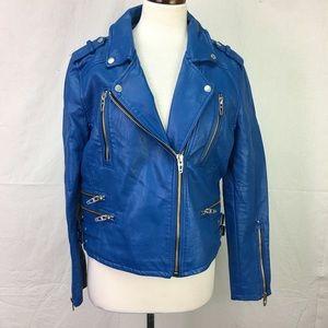 Blank NYC Blue Faux Leather Biker Moto Jacket